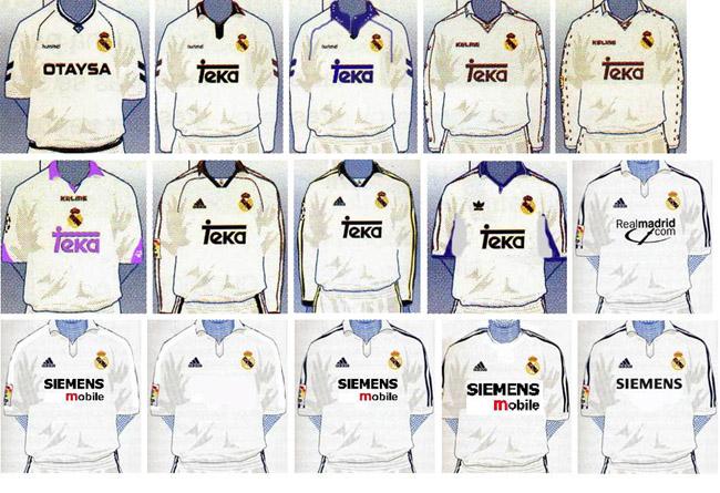 Camisas do Real Madrid nas últimas décadas