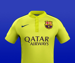 Terceira camisa amarela do Barcelona 2014-2015 Nike capa