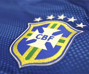 Camisa reserva azul do Brasil 2014-2015 Copa do Mundo