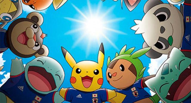 Personagens do Pokémon unidos para apoiar a seleção do Japão