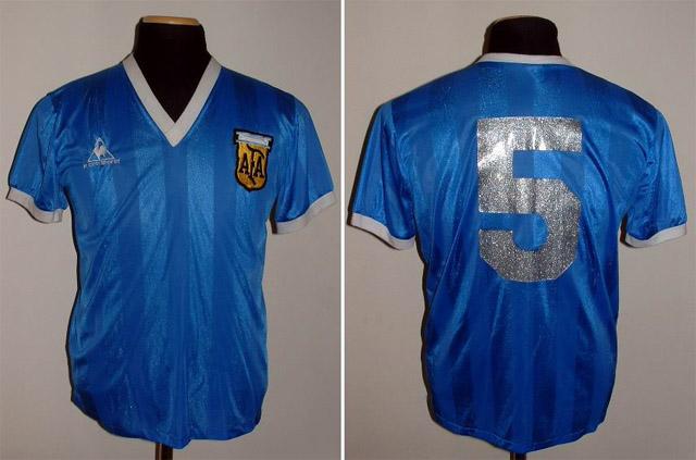 Camisa da Argentina usada no jogo contra a Inglaterra em 1986