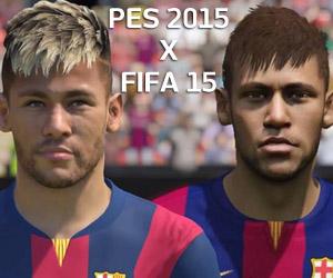Comparação dos rosto PES 2015 FIFA 15 capa