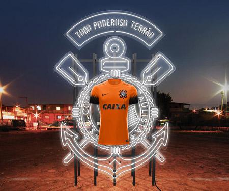 terceira camisa laranja do Corinthians 2015-2016 Nike capa