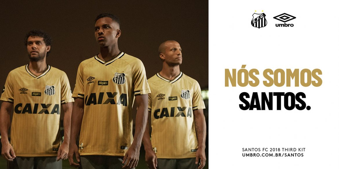 Quarta camisa dourada do Santos 2018-2019 Umbro abre