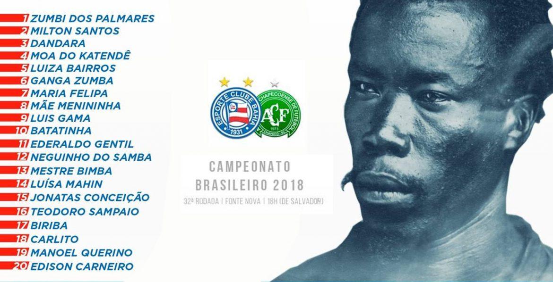 Bahia homenageará mês da Consciência Negra em camisa contra a Chapecoense abre