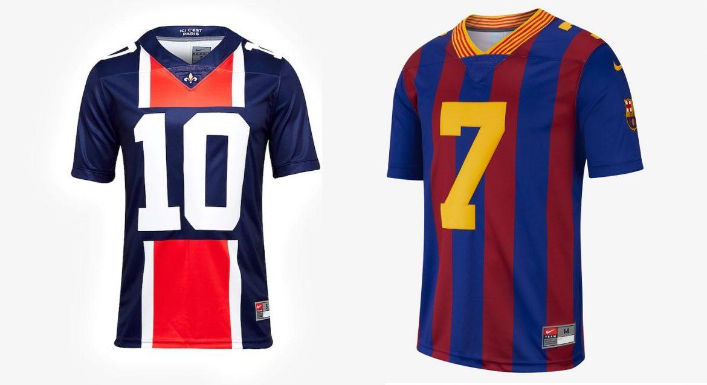 Nike lança camisas de futebol americano para PSG e Barcelona