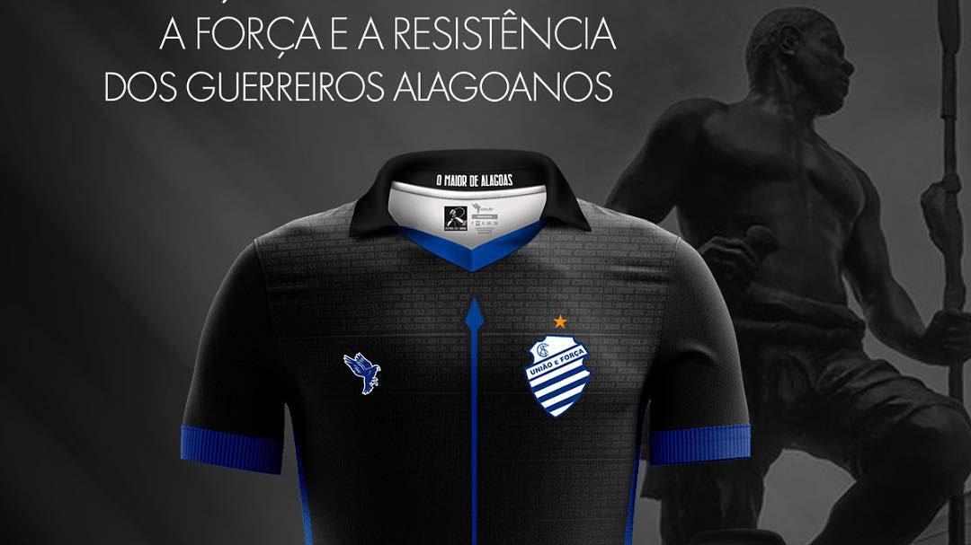 Zumbi dos Palmares Terceira camisa preta do CSA 2019 Azulão abre