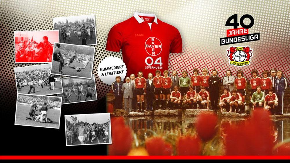 40 anos de Bundesliga Camisa retrô do Bayer Leverkusen 2019 Jako
