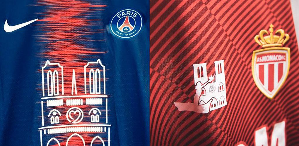 PSG e Monaco utilizam camisas em homenagem à Notre-Dame