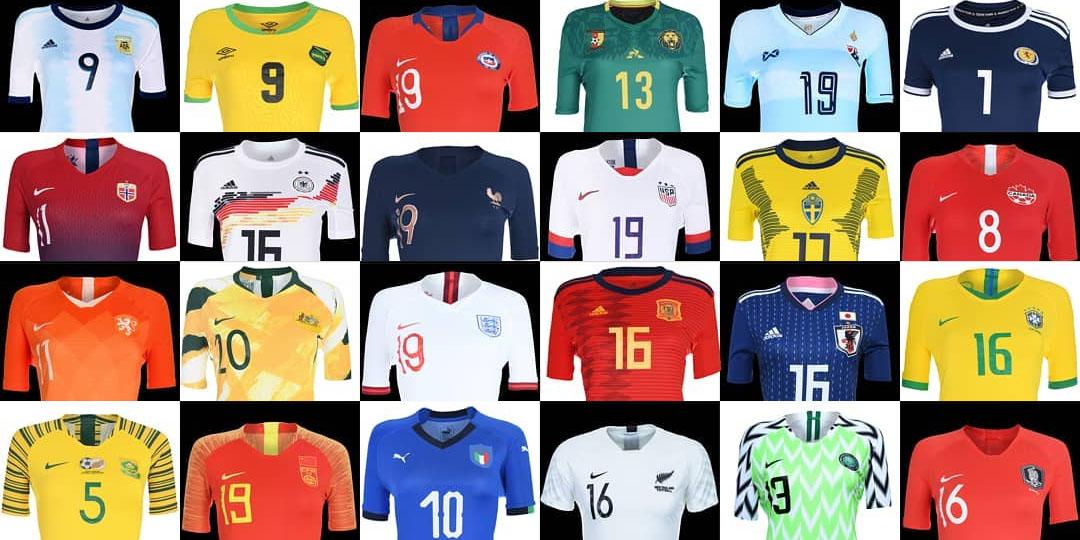 Camisas da Copa do Mundo Feminina 2019