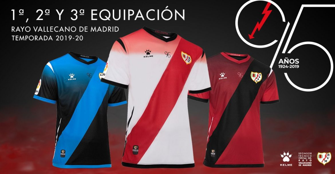 Camisas do Rayo Vallecano 2019-2020 Kelme abre