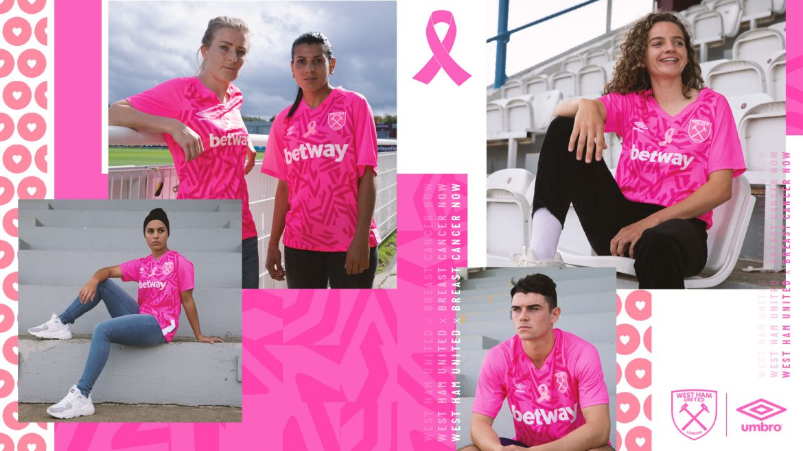 Camisa Outubro Rosa do West Ham feminino 2019-2020 Umbro abre
