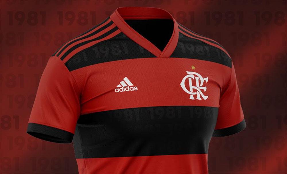 Camisa do Flamengo 2021-2022 Adidas 40 anos Mundial 1981 abre