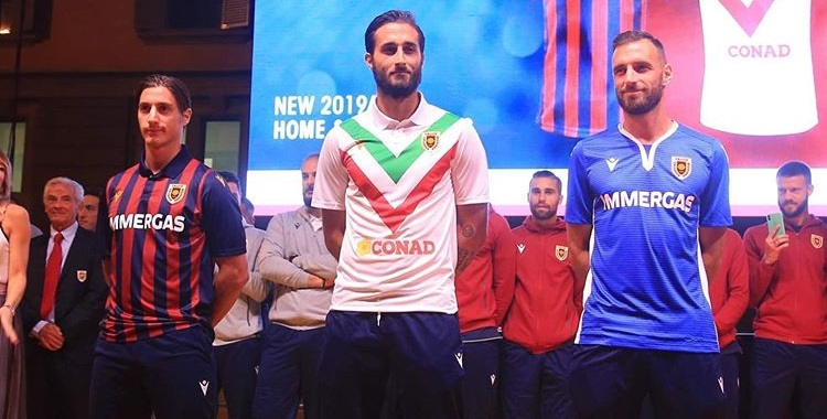 Camisas da Reggiana 2019-2020 Macron 100 anos