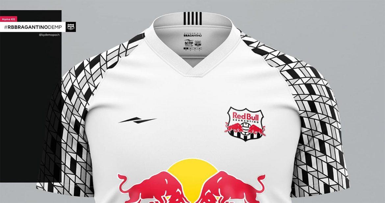 Escudo e uniformes do Red Bull Bragantino 2020 (Gabriel Pacheco)