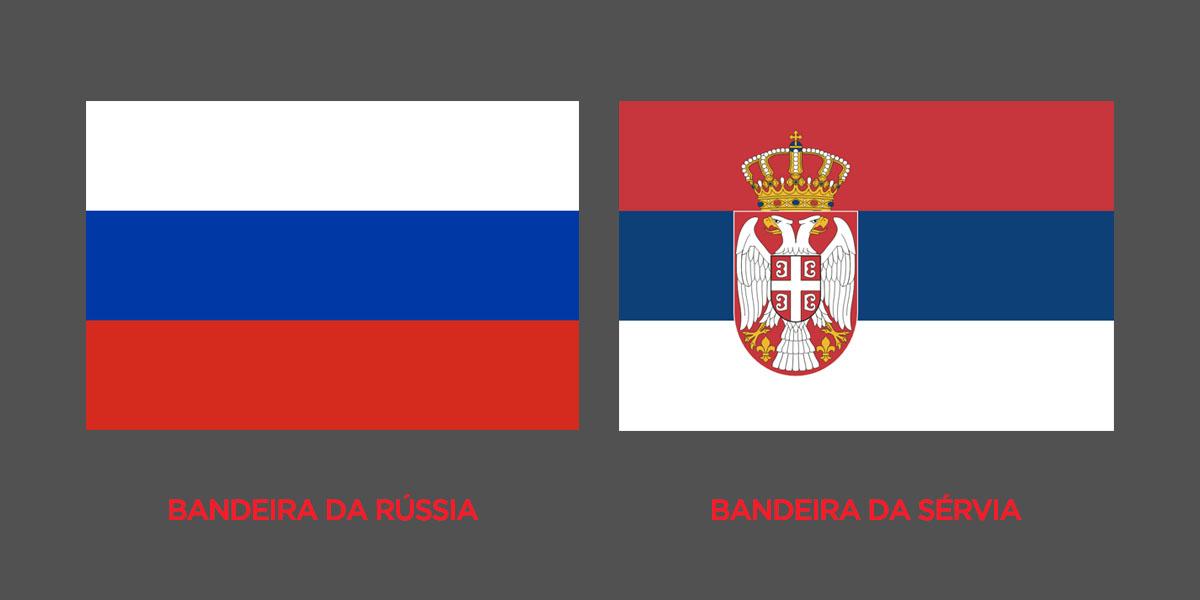 bandeira da russia x bandeira da sérvia