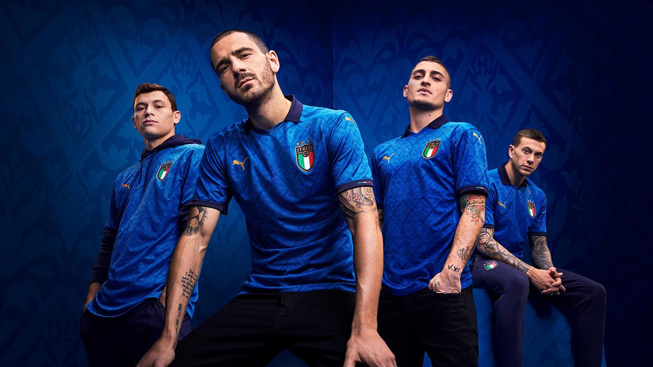 Camisa azul da Itália 2020-2021 PUMA   Eurocopa