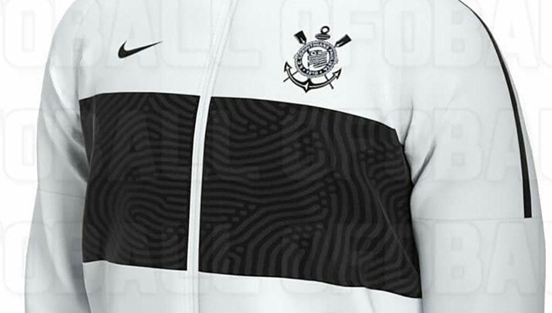 Jaqueta branca do Corinthians 2020 Nike abre