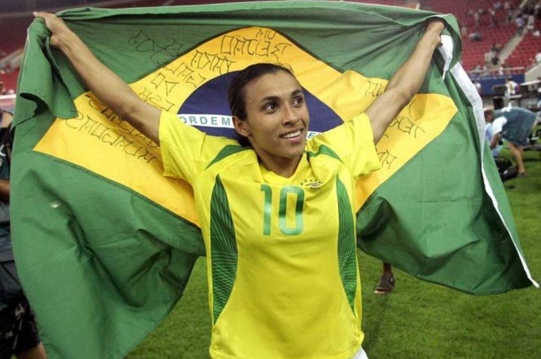 Primeira camisa 10 de Marta na Seleção Brasileira