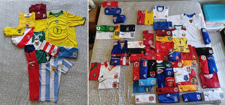 Colecionador desenha continentes com camisas de futebol