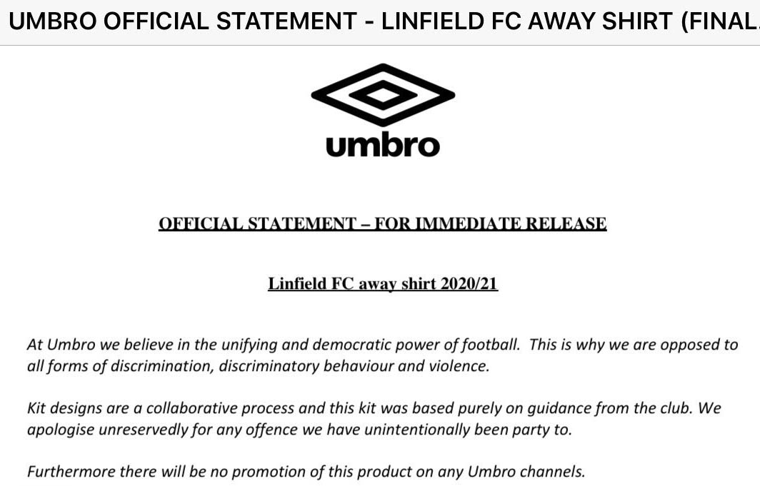 Umbro comunicado Linfield