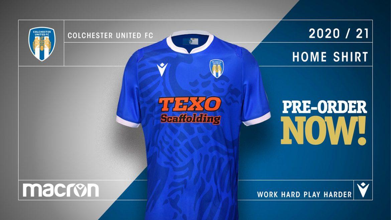Camisas do Colchester United 2020-2021 Macron