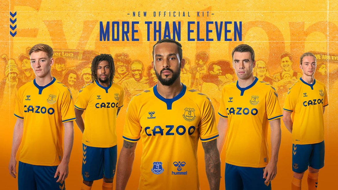Camisa reserva do Everton FC 2020-2021 Hummel a