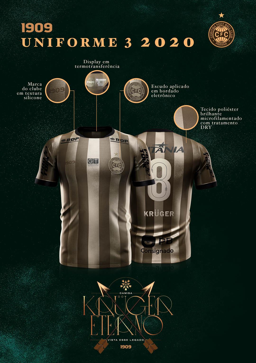 Krüger Eterno Terceira camisa do Coritiba 2020-2021 1909 kit