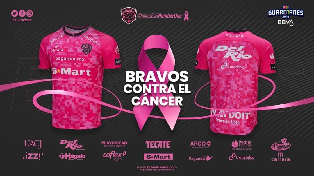 Camisa Outubro Rosa do FC Juárez 2020 Carrara