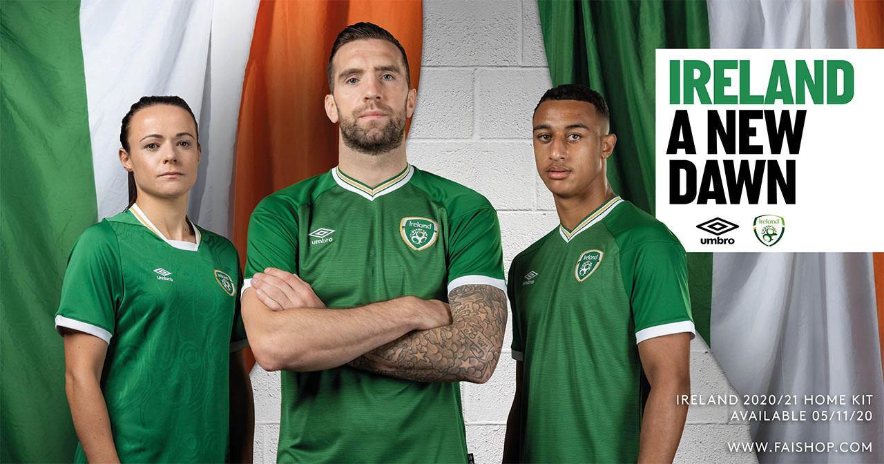 Camisas da Seleção da Irlanda 2020-2021 Umbro Home