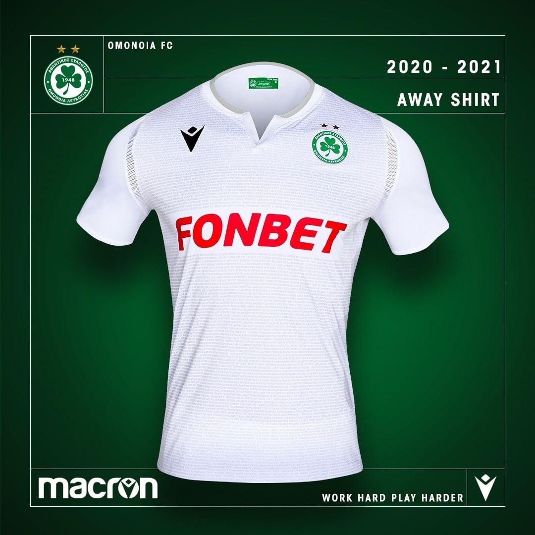 Camisas do Omonia Nicosia 2020-2021 Macron Away