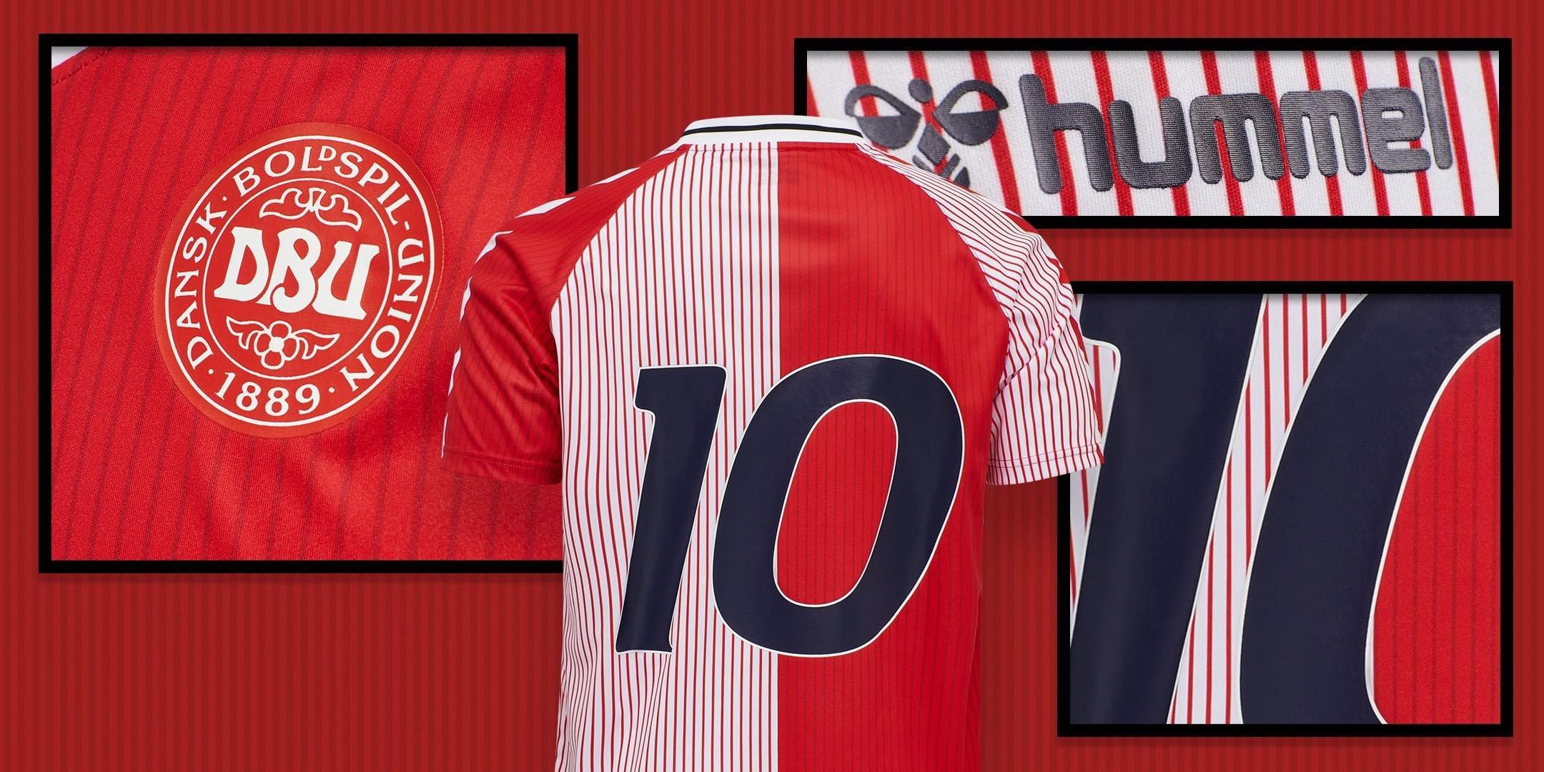 Camisa retrô da Dinamarca Copa de 1986 Hummel