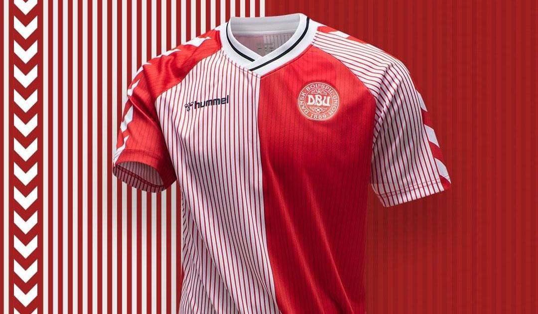Camisa retrô da Dinamarca Copa de 1986 Hummel a