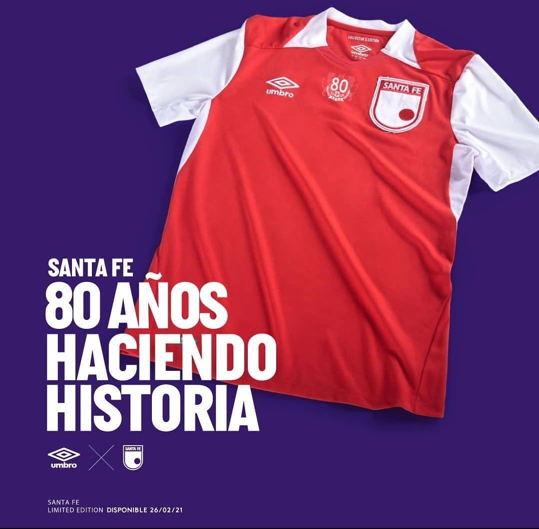 Camisa de 80 anos do Independiente Santa Fé 2021 Umbro