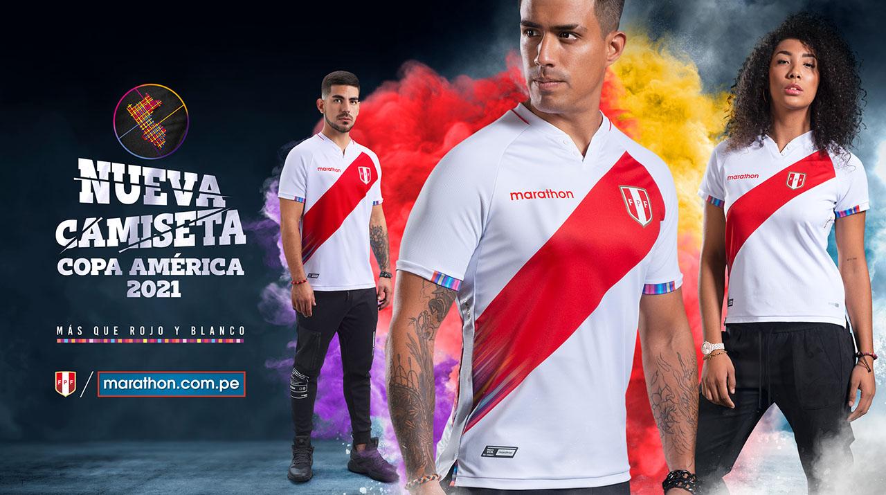 Camisas do Peru 2021-2022 Marathon kit home