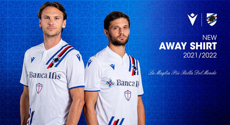 Camisas da Sampdoria 2021-2022 Macron Away