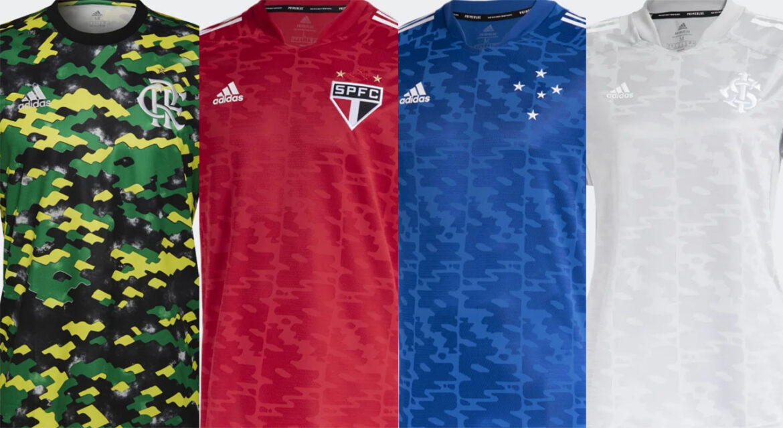 Camisas pré-jogo Adidas 2021 para clubes brasileiros
